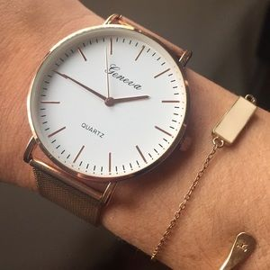 Rose Gold Watch Large White Face Fashion NEW!